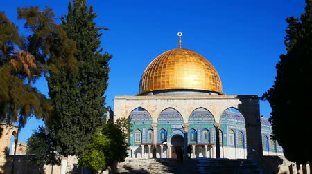 Dome of the Rock mosque in Jerusalem, Israel Stock Footage