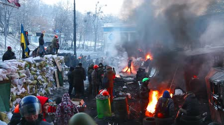 KIEV, UKRAINE - JANUARY 24: Overview of the barricade at Hrushevskogo street on January 24, 2014 in Kiev, Ukraine. The anti-governmental protests turned into violent clashes during last week.