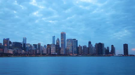 Chicago downtown cityscape at sunset Stock Footage