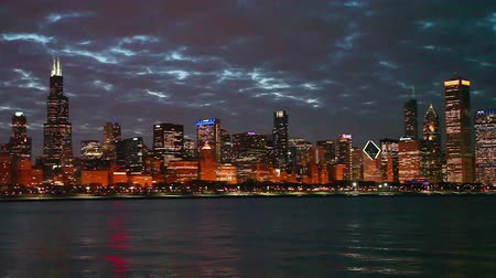 Chicago downtown cityscape in the night Stock Footage