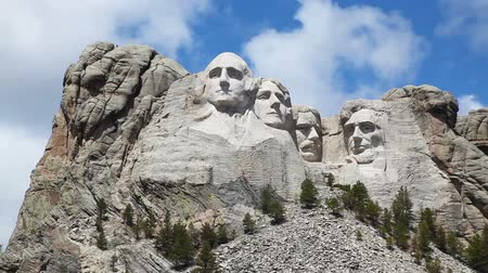 Mount Rushmore monument in South Dakota in the morning Stock Footage