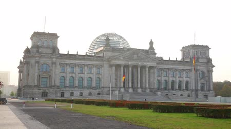 Reichstag building in Berlin, Germany in the morning Stock Footage