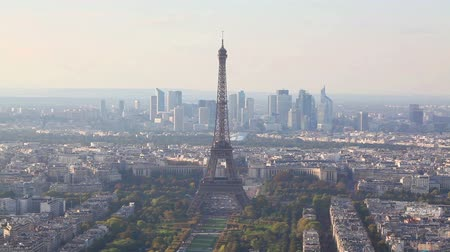 Aerial view of Paris with the Eiffel tower Stock Footage