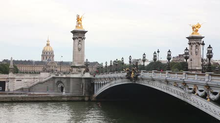 Alexander III bridge and Les Invalides building in Paris, France