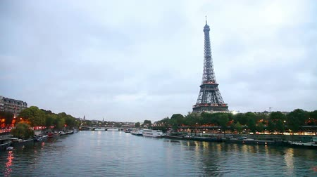 Paris cityscape with Eiffel tower in the morning Stock Footage