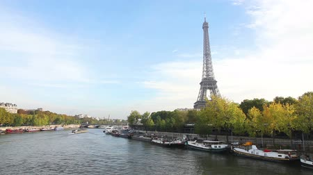 morning : Paris cityscape with Eiffel tower in the morning Stock Footage