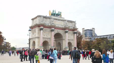 PARIS - OCTOBER 9: Arc de Triomphe du Carrousel on October 9, 2014 in Paris, France. Its a triumphal arch, located in the Place du Carrousel built between 1806 and 1808 to commemorate Napoleons military victories of the previous year