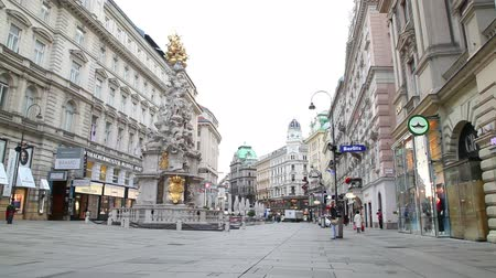 VIENNA - OCTOBER 20: The Pestsaule (Plague Column) at Graben street on October 20, 2014 in Vienna. Its one of the most well-known and prominent pieces of sculpture in the city. Stock Footage