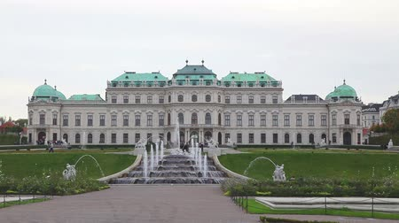 VIENNA - OCTOBER 20: Belvedere palace on October 20, 2014 in Vienna, Austria. Its a historic building complex, consisting of two Baroque palaces, the Orangery, and the Palace Stables. Stock Footage