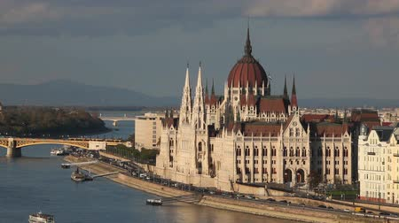 Parliament building in Budapest, Hungary on a cloudy day Stock Footage