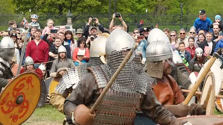 knightly : St. Petersburg, Russia - May 27, 2017: Illustrative battle of the ancient Vikings. Historical reconstruction at the festival in St. Petersburg. Petersburg, Russia