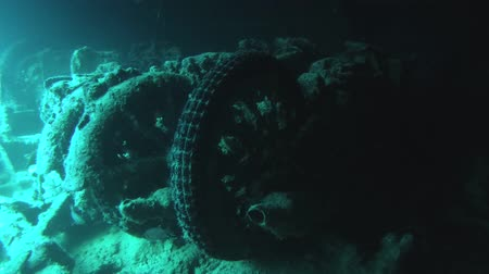 ss : Motorcycle in the hold of a sunken ship SS Thistlegorm, Red Sea, Sharm el Sheikh, Egypt, Sinai Stock Footage
