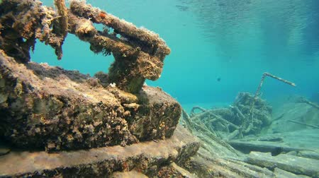 sandy waters : old wrecked wooden fishing boat on the sandy bottom, Red sea, Marsa Alam, Egypt Stock Footage