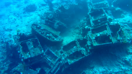 six worlds : Crawler transporters Bren Carrier MK-1. Military armored with abandoned in the Red Sea during the Six Day War between Israel and Egypt. Red Sea, Sharm el-Sheikh, Sinai Peninsula, Egypt Stock Footage