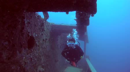 ss : Female scuba diver inside the wreck of the SS Thistlegorm (British armed Merchant Navy ship), Red Sea, Egypt