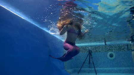 kiddy : girl in mermaid costume wearing poses underwater in swimming pool