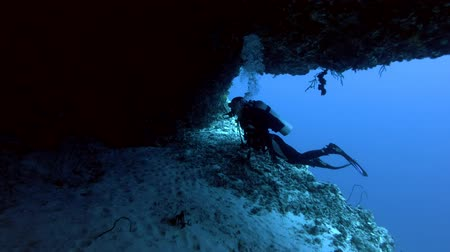 vnitrozemí : Young beautiful woman scuba swims into the cave, Indian Ocean, Maldives Dostupné videozáznamy