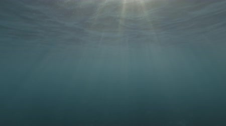 sways : The surface of the water and the rays sunshine in the blue water (Underwater shot, 4K  60fps)