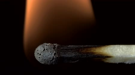 arson : Closeup of wooden match self-ignition, burns and goes out. Stock Footage