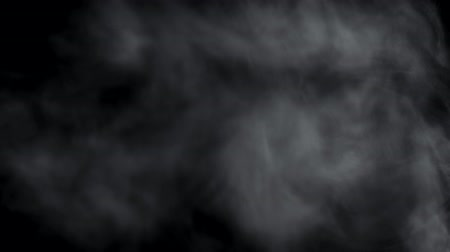 vapour : Smoky fog clouds on black background