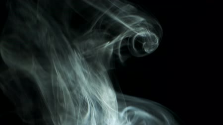 upward : Smoke rising graceful twists upward. Cigar smoke blowing from bottom to top. Natural color tobacco smoke. 4k - 60fps