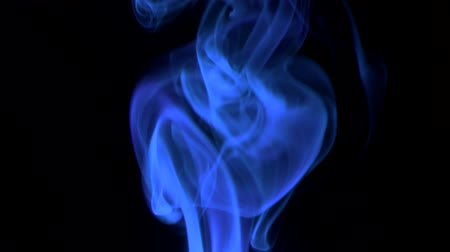 upward movement : neon-blue smoke blowing to top. isolated on black background.