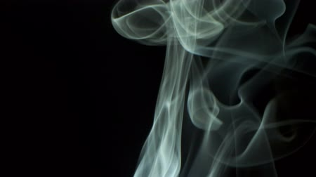 silvery : Silvery smoke blowing to top. isolated on black background. Stock Footage