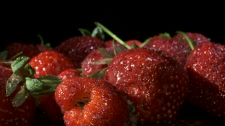 black berry : Fresh ripe strawberries, Close-up, Slow motion, Rotation 360 degrees