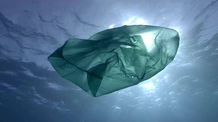 podsvícení : Slow Motion, Plastic pollution in the ocean, green plastic bag slowly drifting underwater surface in the sun rays. Underwater shot, Low-angle shot, Contre-jour (backlighting)