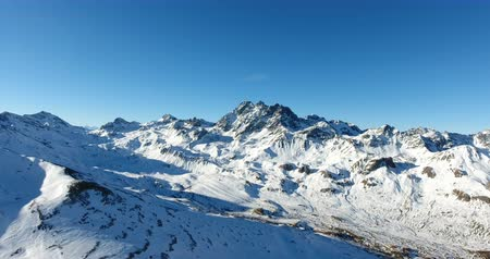 High Angle View Of Snowy Mountain Range In Austria 4K Stock Footage