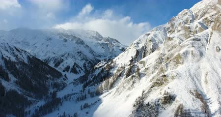 View Of High Mountains Covered In Snow Taken From Drone 4K Stock Footage