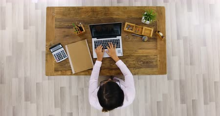 Elevated View Of A Businesswoman Using Laptop On Office Desk At Workplace