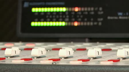 entry level : Closeup of a sound panel. recording equipment at the radio station.