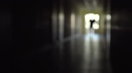 sahte : Silhouette of a man runs through the dark corridor. Stok Video