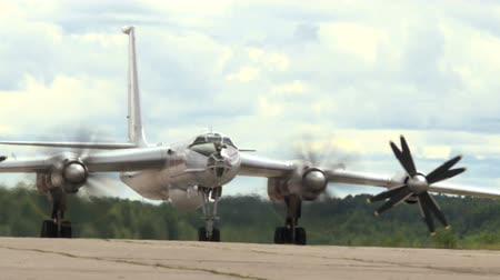 bombardment : Military bomber on the runway. Stock Footage
