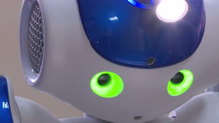 робот : A small robot with a human face