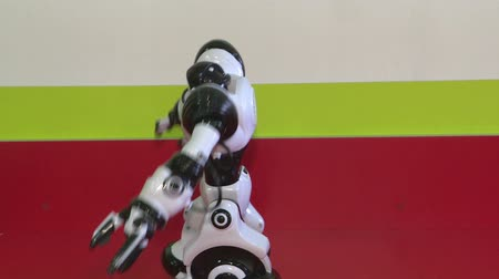 The dance of a humanoid robot. dance show. Robot dance party. Smart robot technology