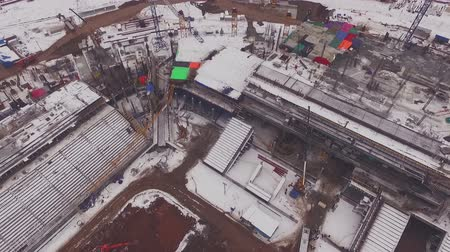 nagylátószögű : drone flies up above building large stadium 2 Stock mozgókép