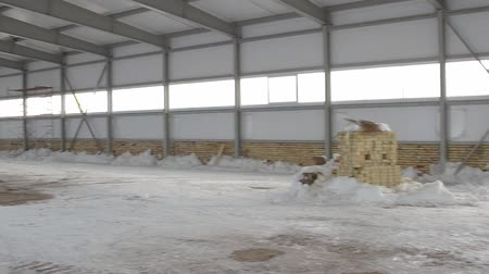 self storage : panorama of indoor of warehouse under construction