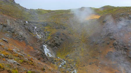 seltun : small icelandic waterfall, water flows down over hill covered yellowed grass Stock Footage