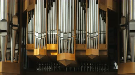 pipe organ : large pipes of organ before concert, static shooting 4K Stock Footage