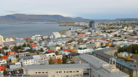 hallgrimskirkja : top view on panorama of Reykjavik city and coast of Atlantic ocean, mountain Esja, island Videy
