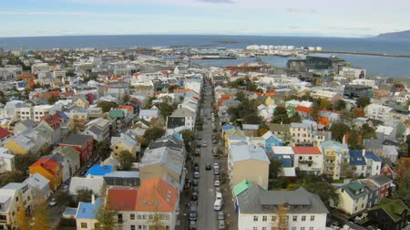 hallgrimskirkja : top view on panorama of Reykjavik city and old harbour, view from famous church Hallgrimskirkja