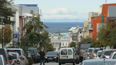 hallgrimskirkja : Reykjavik, Iceland - SEP 26, 2016: many cars are parked on sides of Skolavordustigur street, other cars are moving on a road, young woman takes photo, Atlantic ocean is on background, sunny day Stock Footage