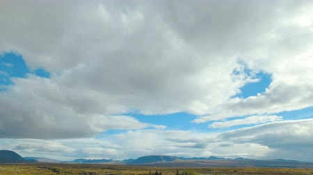 geological feature : panorama of national icelandic park Thingvellir from the highest point in summer day, cloudy sky
