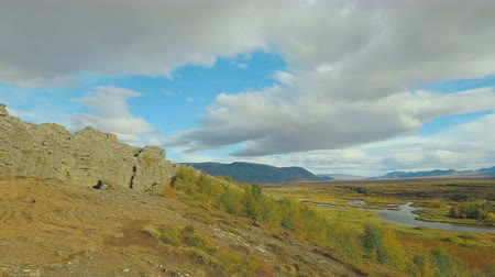 geological feature : panorama of national icelandic park Thingvellir in summer day, from mid-atlantic ridge to residence