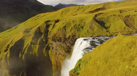 bozulmamış : top view of waterfall on Skoga river in Iceland, top of Skogafoss, view in sunny day