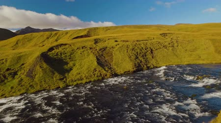 нетронутый : Skoga river view before waterfall Skogafoss, panorama in sunny summer day