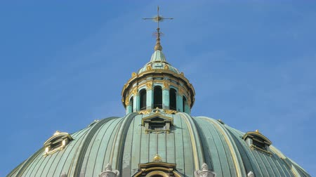 evangelical : close-up of dome of Frederick church in Copenhagen, in background of clear blue sky Stock Footage
