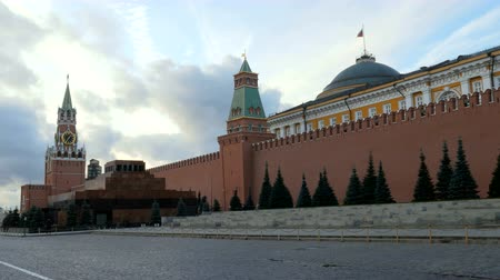 lenin : towers and walls of Moscow Kremlin in cloudy autumn day Stock Footage
